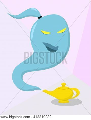 Illustration For Halloween: Fairy Gin Like A Ghost Flies Out Of The Lamp