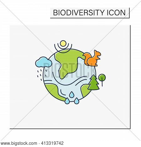 Ecosystem Color Icon. Living Community Of Organisms. Consist Of Different Zones Like Tundra, Grassla