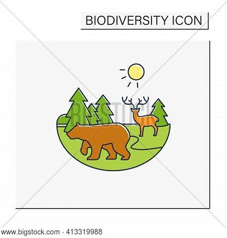 Taiga Forest Color Icon. Boreal Forest Or The Coniferous Forest. Living Place For Dangerous And Wild
