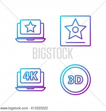 Set Line 3d Word, Laptop With 4k Video, Laptop With Star And Hollywood Walk Of Fame Star. Gradient C
