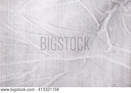 Gray Shabby Jeans Denim Background, Texture Of Grey Denim Close Up