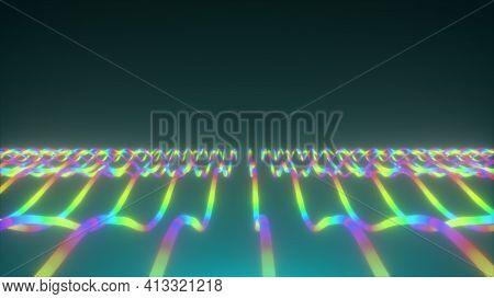 Displacement Of Neon Wavy Lines, Computer Generated. 3d Rendering Rainbow Backdrop