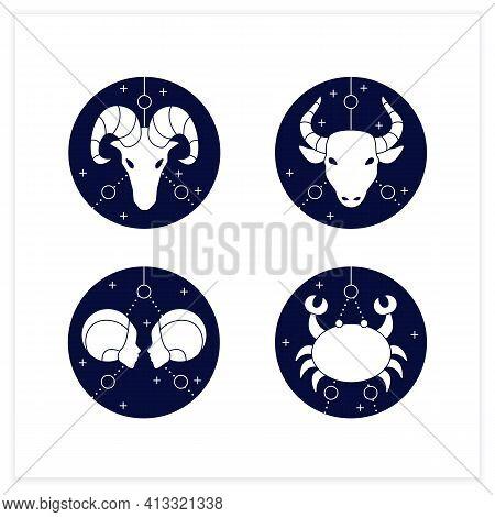 Zodiac Flat Icons Set. Fourth Fire Signs In Zodiac. Birth Symbols.cancer, Gemini, Aries, Taurus. Mys