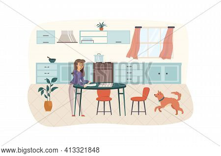 Woman Cooking In Kitchen Scene. Housewife Preparing Dough For Domestic Baking Cookies Rolling Pin On