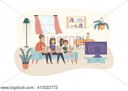 Family Watching Television Together Scene. Father, Mother And Daughter Watch Tv Eating Popcorn In Li
