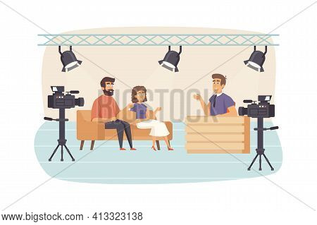 Filming Television Talk Show Scene. Presenter Interviewing Guests At Studio, Cameras Recording Video