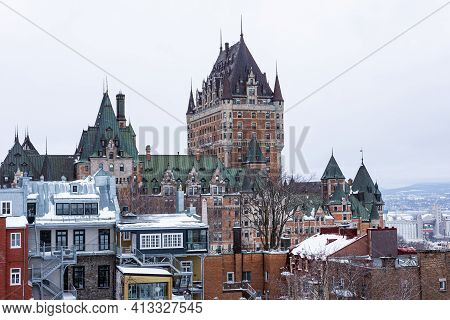 Winter View Of The Frontenac Castle In The Old Quebec City.