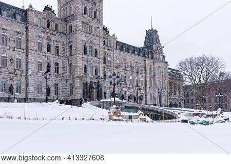 Quebec City, Quebec, Canada - 17 January 2021: The Quebec Parliament Under The Snow.