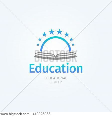 School Logo. Open Book And Sun. Knowledge And Education Symbol. Library And Bookstore Logotype Templ