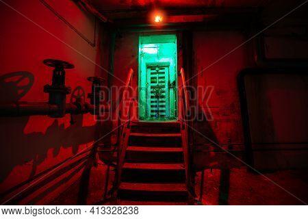 Steel Armored Hermetic Door In The Soviet Bomb Shelter