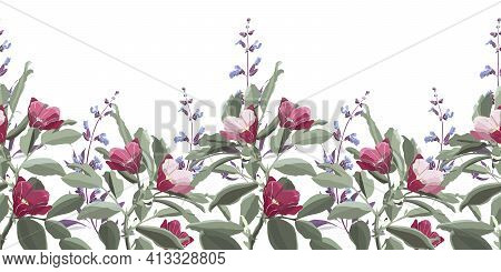 Vector Floral Seamless Pattern, Border. Green Foliage, Purple Sage, Pink And Maroon Flowers.