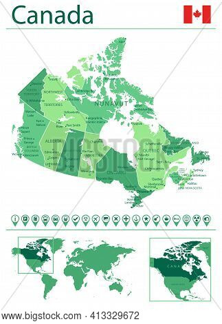 Canada Detailed Map And Flag. Canada On World Map.