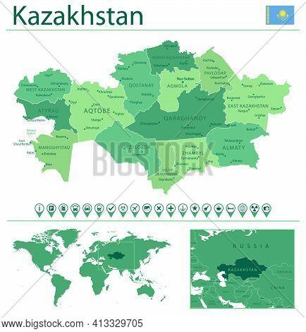 Kazakhstan Detailed Map And Flag. Kazakhstan On World Map.