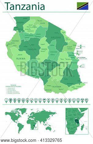 Tanzania Detailed Map And Flag. Tanzania On World Map.