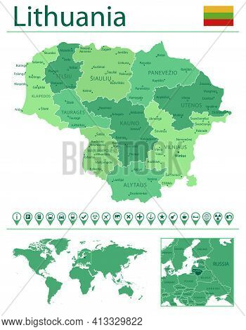 Lithuania Detailed Map And Flag. Lithuania On World Map.