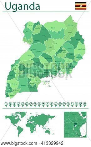 Uganda Detailed Map And Flag. Uganda On World Map.