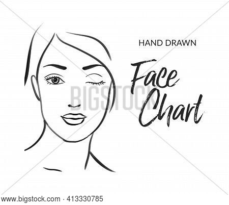 Hand Drawn Beautiful Woman Face Makeup Portrait Sketch. Make Up Face Chart Illustration. Glamour Gir