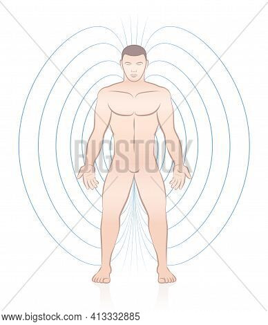Human Magnetic Field. Male Body With Lines And Energy Pattern. Complementary Medicine Treatment. Vec