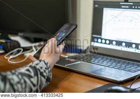 Woman Using Smartphone For Social Network Chat, Social Isolation, Tech Addiction