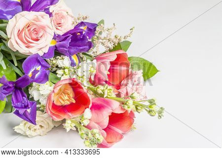 A Beautiful Bouquet Of Fresh Flowers Isolated On White Background