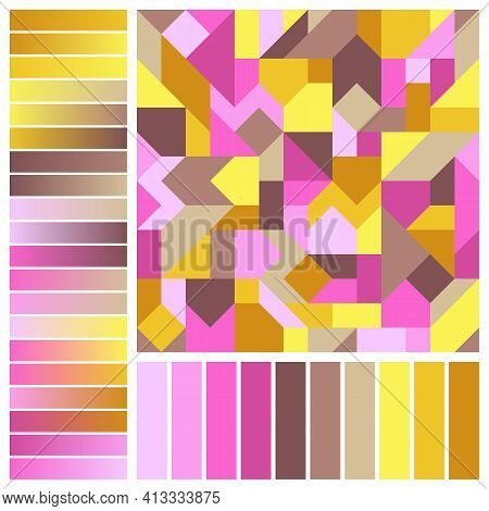 Abstract Geometric Seamless Pattern With Spring Color Swatches And Gradients. Continuous Ornament Of