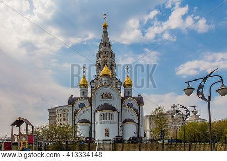 Temple Of The Iberian Icon Of The Mother Of God In Ochakovo-matveyevsky, Moscow, Russia, Against A C