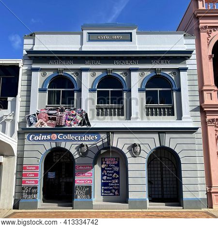Bundaberg, Australia - February 28, 2021: Facade Of The Amp (australian Mutual Provident Society) Ma