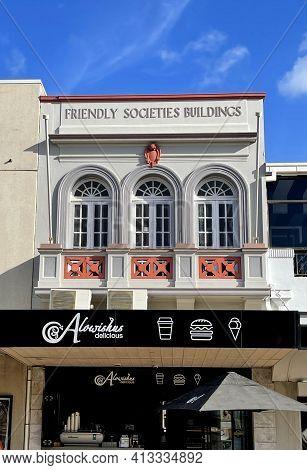 Bundaberg, Australia - March 1, 2021: Facade Of The Friendly Societies Buildings Masonry Building Er