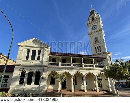 Bundaberg, Australia - March 1, 2021: Facade Of The Post Office Tower Masonry Building Erected In 18