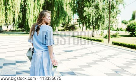 Summer Non-alcoholic Drink, Refreshing Cold Drink. Young Blond Woman Drinking Non-alcoholic Mojito I