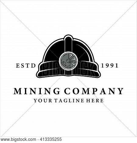 Mining Helmet Logo Vector Vintage Illustration Design. Mining Equipment For Professional Miner. Mini