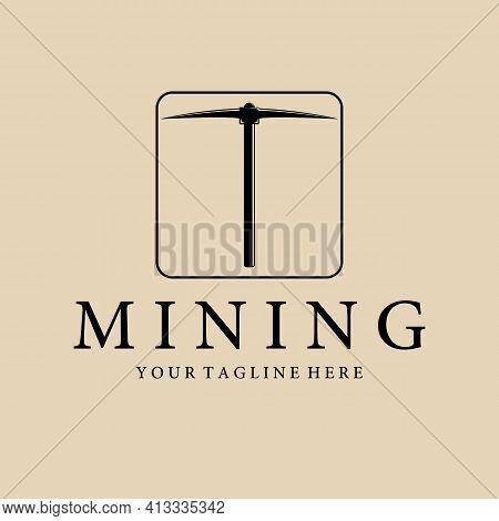 Pickax Or Pickaxe Mining Logo Vector Vintage Illustration Template Design. Mining Equipment Traditio