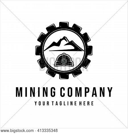 Mining Logo Vintage Vector Illustration Design. Mountain And Gear Logo Concept For Mining Illustrati