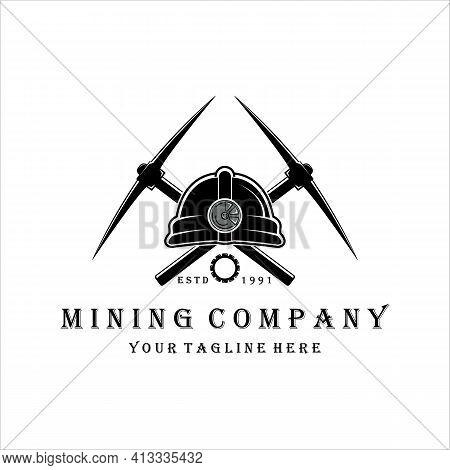 Pickax Or Pickaxe Mining Logo Vector Vintage Illustration Design . Mining Helmet Equipment For Profe