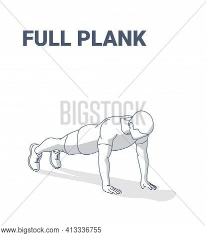 Full Plank Men Home Workout Exercise Guidance Illustration. Sporty Male Working At Home On His Abs.