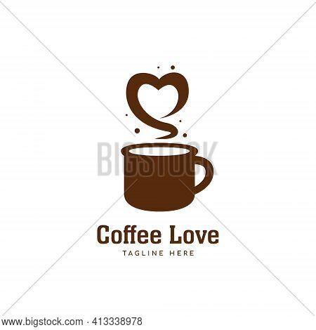 Coffee Love Logo, Brown Coffee Mug Logo With Love Shape Aroma Icon Symbol