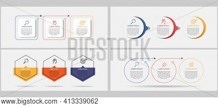 Vector Business Infographics Set With 3 Options Or Steps. Business Concept. Can Be Used For Presenta