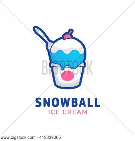 Snowball Ice Cream Bucket Cup Logo Icon Symbol In Funny Sweet Cute Style