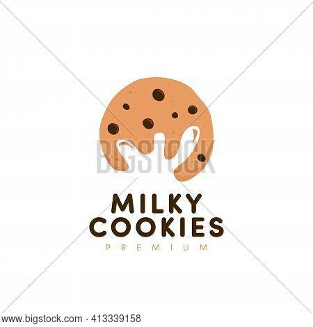 Milk And Cookie, Milky Cookies Logo Vector With Milk Splash Negative Space Silhouette Inside Cookies