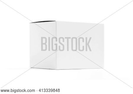 Blank Packaging White Cardboard Box For Product Design Mock-up Isolated On White Background With Cli