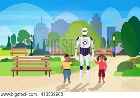 Modern Robot Nanny Walking With Children Artificial Intelligence Technology Concept Public Park City
