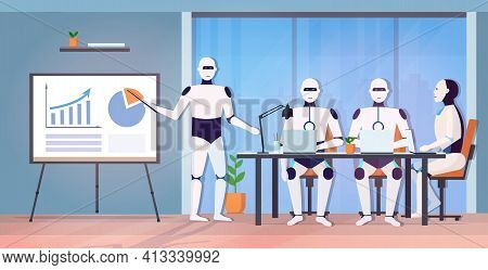 Business Robot Presenting Financial Graph To Robotic Coworkers Team At Round Table Artificial Intell
