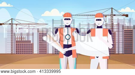 Two Robots Architects In Uniform Holding Blueprints Artificial Intelligence Technology Architect Con