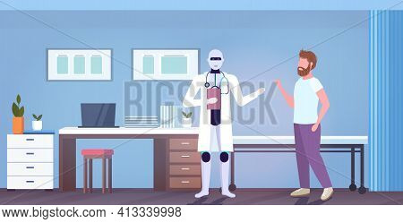 Robot Doctor With Stethoscope Consulting Man Patient Artificial Intelligence Technology Medicine Hea