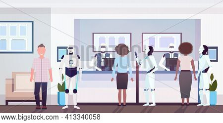 People And Robots At Counter Tellers With Robotic Clerks Artificial Intelligence Technology Concept