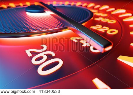 3d Illustration Close Up Black Car Panel, Digital Bright Speedometer In Sport Style Under Red Neon L