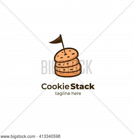 Cookie Stack Cookie Tower Logo Icon Symbol Vector Illustration