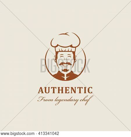 Legendary Chef Kitchen Mascot With Warm Friendly Smiles And Mustache Logo Icon Character Cartoon In