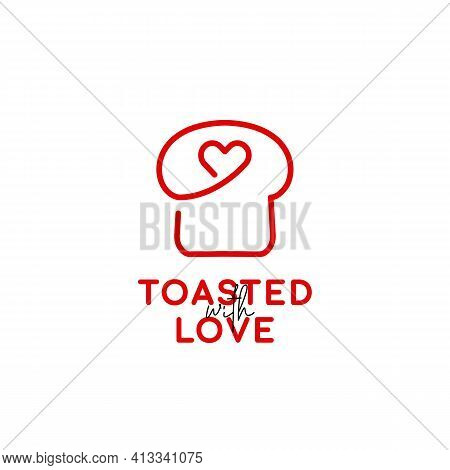 Toasted Toast Loaf Of Bread Bakery Logo Icon Symbol In Monoline With Heart Love Icon