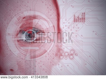Round scanner and microprocessor connections against close up of female human eye. cyber security and digital interface technology concept